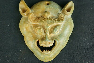 "Old intricate carved chinese archaic stone carving / mask 3 1/2"" [Y8-W6-A9-E8]"