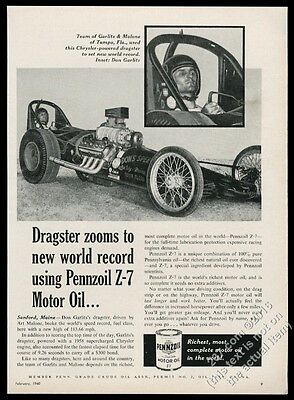 1960 Don Garlits photo in dragster Pennzoil motor oil vintage print ad