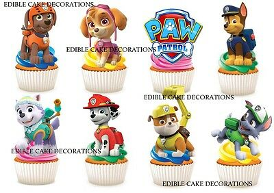 30 PAW PATROL STAND UP Cupcake Cake Fairy Topper Edible Paper Decorations Kids
