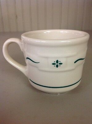 Longaberger Pottery Heritage Green Classic Woven Traditions Coffee Tea Cups Mug