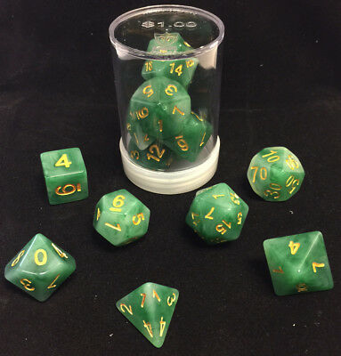 Polyhedral 7 - Die Max Pro Premium Dice Set - Jade Green with Yellow Numbers MX