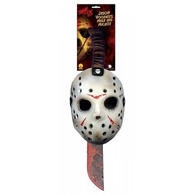 Jason Mask & Machete Kit Costume Accessory Set Adult Friday the 13th Halloween