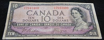 1954 Bank of Canada 10 Dollar Note in Good Condition Devil's Face Note!