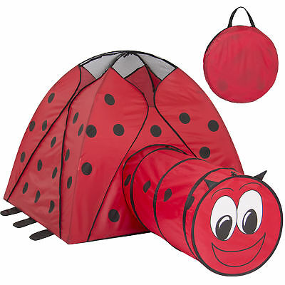 Kids Pop-Up Folding Lady Bug Play Tent W/ Tunnel, Carrying Case Indoor/Outdoor