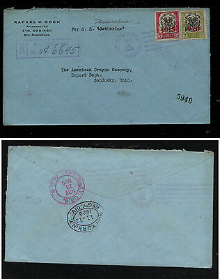 Dominican Republic  overprinted stamps registered cover 1920        MM1101