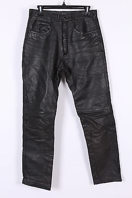 Vtg Steinmark Black Leather Motorcycle Pants Mens Size 32-31