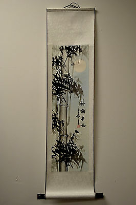 """New Asian Chinese Scroll Painting Black & White Bamboo Feng Shui Home Decor 38""""L"""