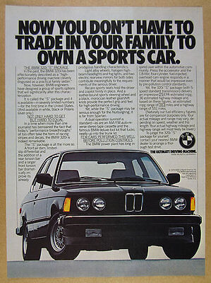 1980 BMW 320i S Package black car color photo vintage print Ad