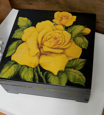 Vintage YELLOW ROSE Decoupage Painted Black Dovetail WOOD Trinket Jewerly Box