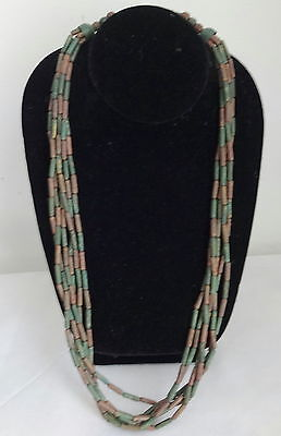 Antique Egyptian Revival Runway Brass Copper Liquid Tribal Necklace RARE