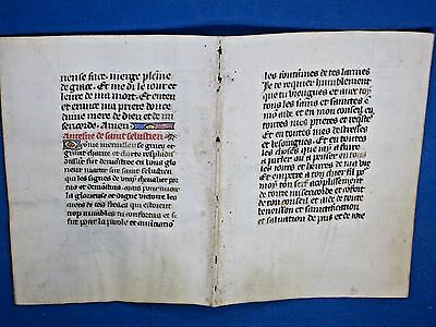 Rare deco.Medieval Manuscript double leaf in French,Book of Hours,Vellum,c.1470
