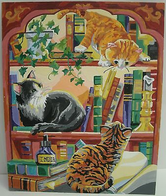 Paint By Number Cats playing on Book shelf : 12 x 15 Finished PBN Painting