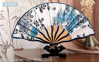 Blue & White Chinese Japanese Hand Held Folding Silk Bamboo Asian Pocket Fan