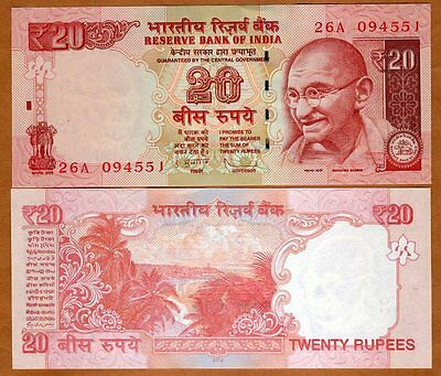 India, 20 Rupees, 2012, Pick New, UNC   New Rupee Sign