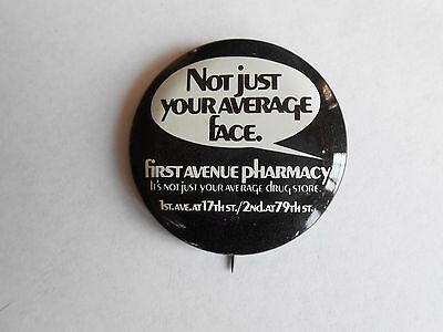 Vintage First Avenue Pharmacy Drugstore Advertising Pinback Button