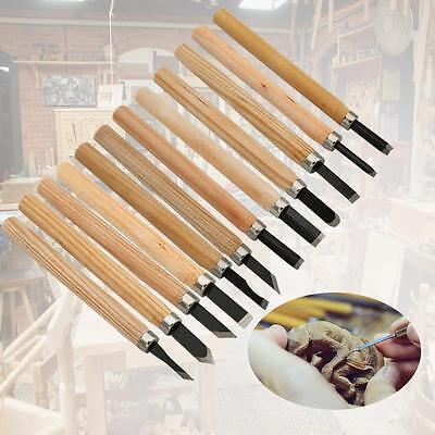 12 Pcs New Wood Carving Chisel Wood Work Tools Woodworking Chisels Carpenter  DF
