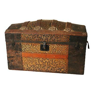 Vintage CAMELBACK TRUNK storage chest steamer train humpback gold wooden antique