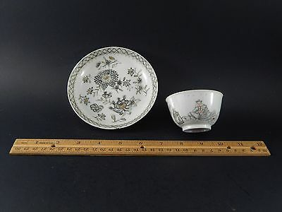 Antique 18th Century Chinese Export Cup and Associated Saucer Both En Grisaille