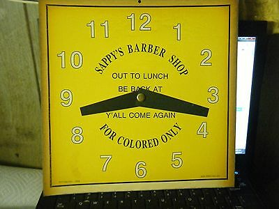 COLORED ONLY! SAPPY'S BARBER SHOP CLOCK /SIGN  . Black'  Memorabilia .  Copy