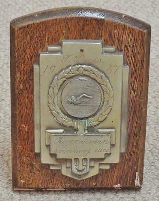 1967 River Severn Swimming Race Wooden Shield / Trophy / Plaque