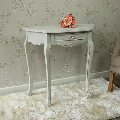 Grey wooden half moon ornate console table shabby french chic vintage hallway