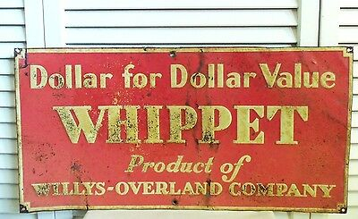 Original Sign Whippet Willys Overland Company Early Vintage Jeep Embossed Metal