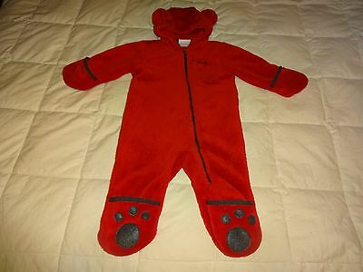 Baby Boys Columbia Fleece Hooded Bunting, 6-12 months, RED , Bear Ears