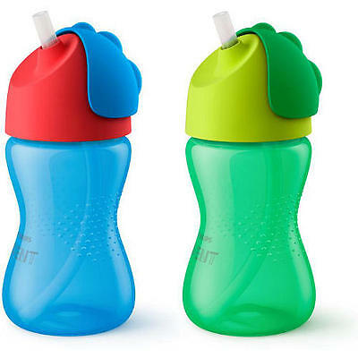 Avent My Bendy 10 Ounce 2 Pack Straw Cup - Blue and Green