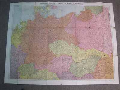 """Vintage Stanford's Map Germany + Countries 30"""" x 40"""""""