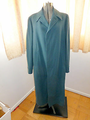 """Vintage TEAL mens 40s WOOL VERY LONG COAT OVERCOAT Trench Pea M L 46"""" chest"""