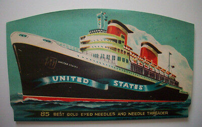 Vintage 1950's Sewing Needle Book Cruise ship United States boat liner