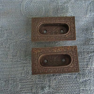 Pair of Antique Eastlake Victorian Cast Iron Recessed Finger Window Sash Lifts