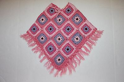 Girls 3T Shawl Sweater Poncho Pink Blue Crocheted Crochet