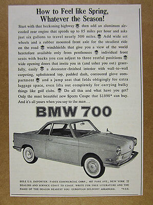 1960 BMW 700 Sport Coupe car photo vintage print Ad