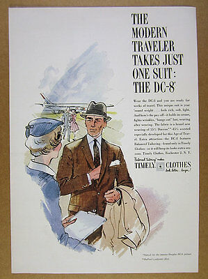 1960 Timely Clothes DC-8 Suit men's fashion illustration art vintage print Ad