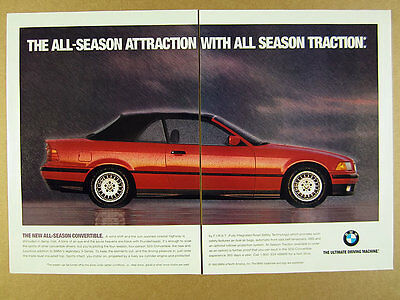 1994 BMW 325i Convertible red car in rain photo vintage print Ad