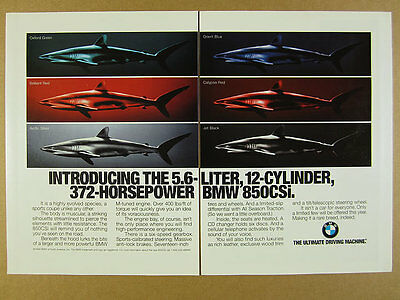 1994 BMW 850CSi 'Introducing' 6 colors sharks vintage print Ad