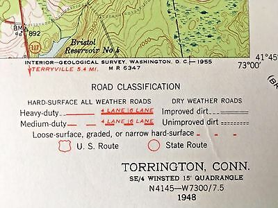 TORRINGTON CT 1948 TOPOGRAPHICAL MAP United States Geological Survey lakes ponds