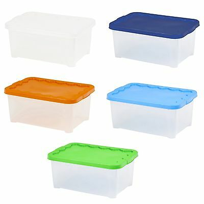 Set of 2 Plastic 14 Litre Storage Boxes Stackable Quality Lidded Container Tub