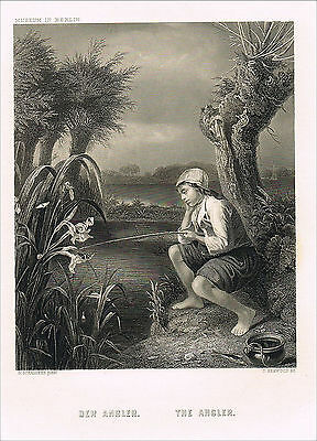 Stahlstich 1872, Angeln Angler Angelrute, Godefried Schalcken, engraving fishing
