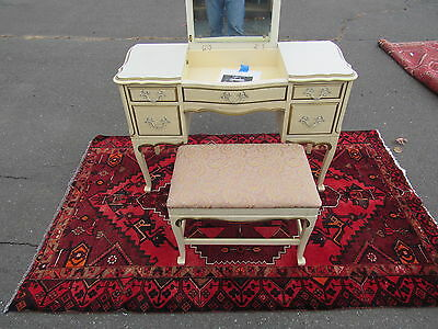 French Provencial Desk with flip up vanity w/ bench