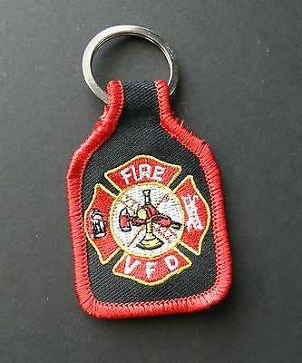 Volunteer Fire Fighter Dept Embroidered Key Ring Chain 1.75 X 2.75 Inches
