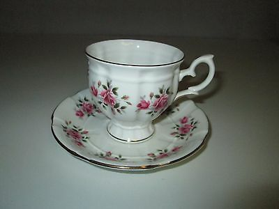 Vintage Crown Staffordshire England Fine Bone China Cup & Saucer Pink Roses