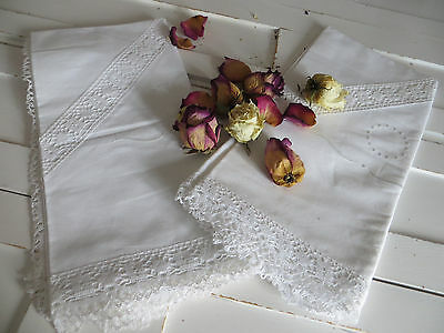 Unused Set Of Two (2) Pillowcases Euro Shams Bobbin Lace Insert Embroidery