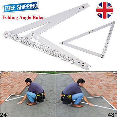 "Professional Large 24"" 48"" Builders Folding Angle Floor Square Ruler Aluminium"