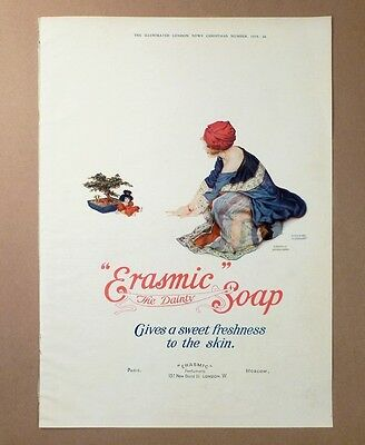 RAPHAEL KIRCHNER Soap Ad and Print 1918 ERASMIC Soap and PRETTY WOMAN on Reverse