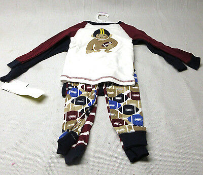 NWT Carter's Just One You Football Monkey 2 Pairs of Pajamas Set Baby/Toddler