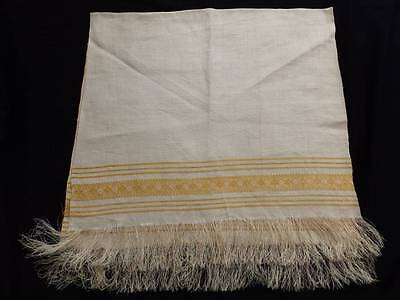 Elegant Vintage Linen Damask Towel~Great Fringe~Xlg~Mint~