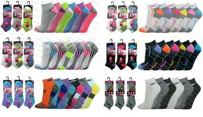 Ladies Trainer Socks 6 Pairs Cushioned Sole Liner Sports Running Gym Hiking