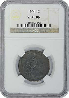 1794 Large Cent VF 25 BN NGC Very Fine 25 Brown